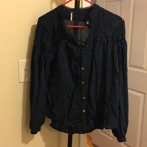 Navy Free People Button Down blouse